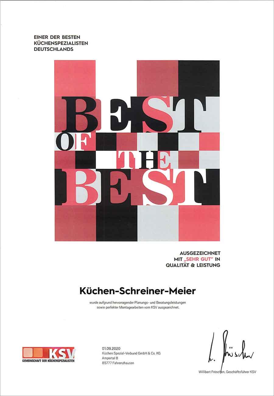 Best of the Best Auszeichnung Zertifikat